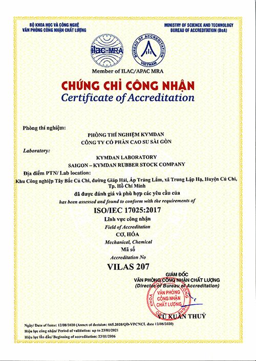 Chứng chỉ công nhận Phòng Thí Nghiệm KYMDAN đạt tiêu chuẩn quốc tế