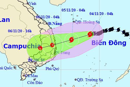 Bão số 10 giật cấp 11 áp sát, miền Trung mưa lớn tới 350 mm từ đêm nay 4-11 - Ảnh 1.