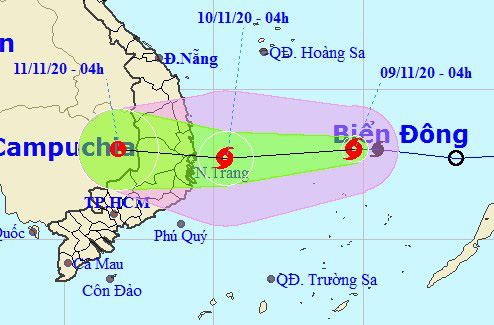 Tin bão khẩn cấp, miền Trung mưa lớn tới 400 mm từ trưa nay 9-11 - Ảnh 1.
