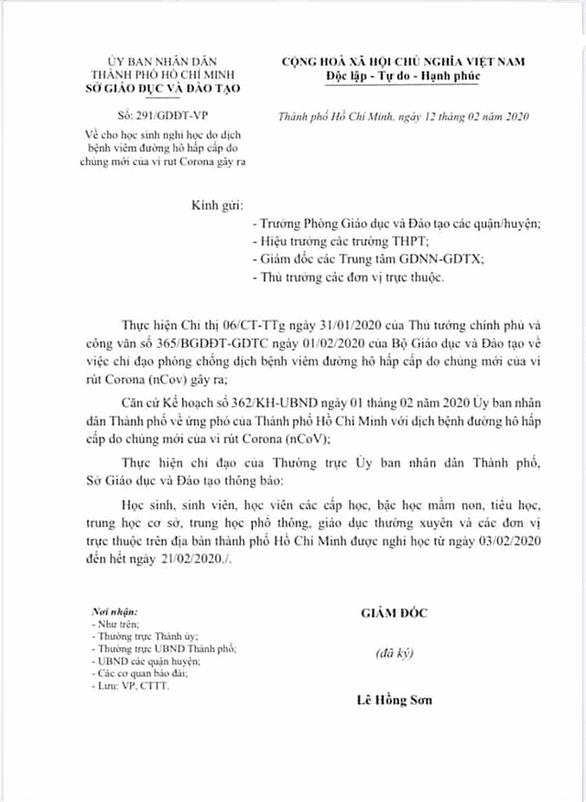 Văn bản TP HCM cho học sinh nghỉ học là giả mạo - Ảnh 1.