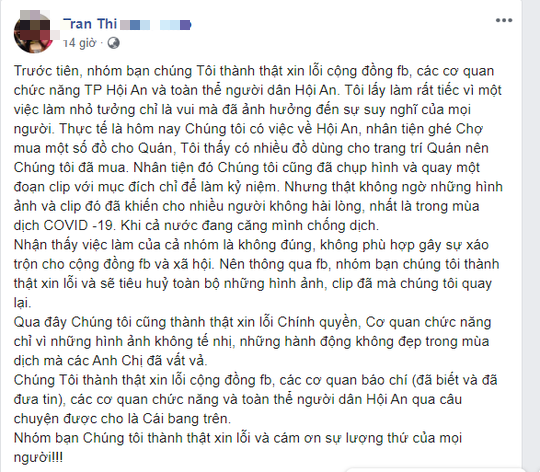 Nhóm người hóa trang ăn xin phản cảm ở Hội An lên Facebook xin lỗi - Ảnh 2.