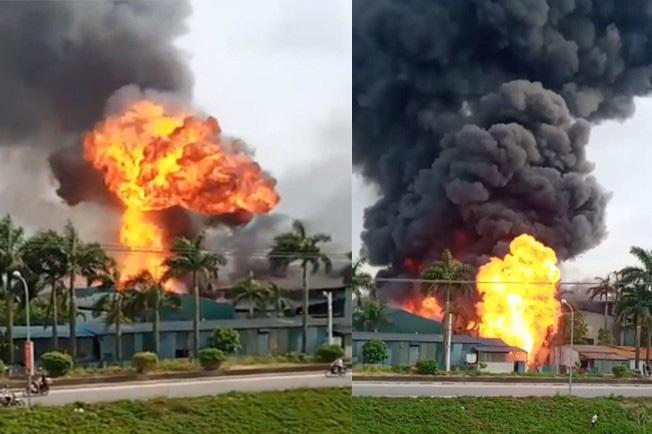 Đang cháy lớn tại kho hóa chất, xuất hiện nhiều tiếng nổ - Ảnh 1.