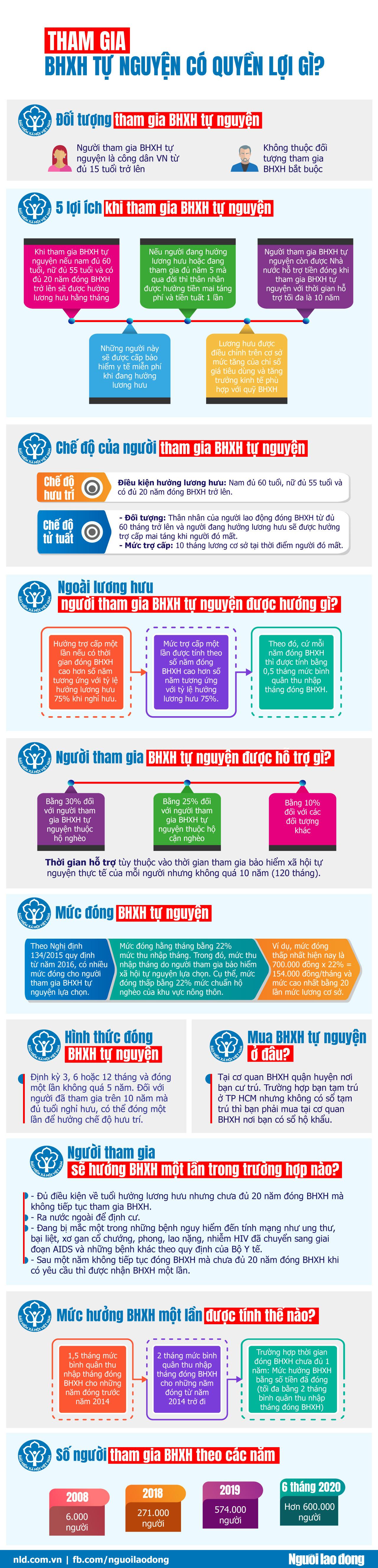 [Infographic] Tham gia bảo hiểm xã hội tự nguyện có quyền lợi gì? - Ảnh 1.