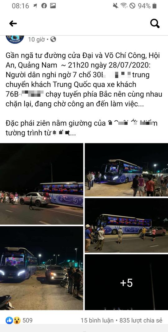 Nghi xe 7 chỗ chở khách Trung Quốc chui, người dân Hội An chặn báo công an - Ảnh 1.