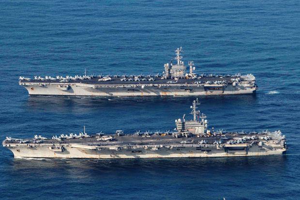 Biển Đông nóng hơn bao giờ hết, hai tàu sân bay Mỹ tập trận rầm rộ trước mặt Trung Quốc - Ảnh 1.
