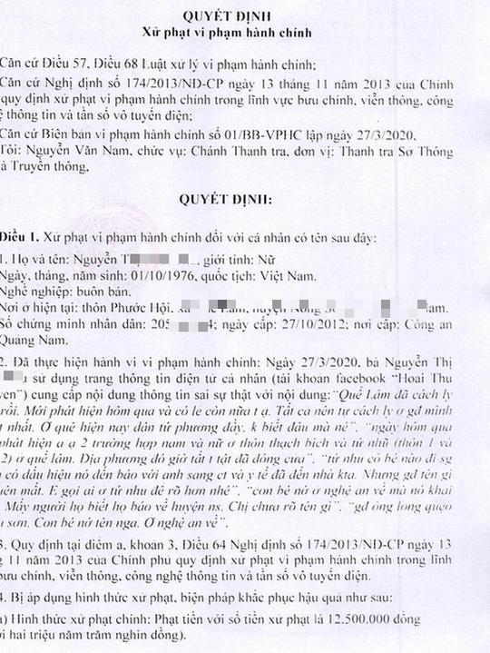 Lên Facebook bày bài thuốc phòng Covid-19, cô gái Quảng Nam bị phạt 5 triệu đồng - Ảnh 1.