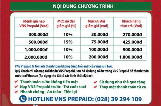 """Vinasun Taxi khuyến mãi """"15 ngày vàng – Nạp VNS Prepaid giảm đến 200.000 đồng"""" - Ảnh 2."""