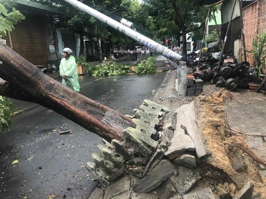 Điện lực Đà Nẵng lên tiếng về vụ cột điện bị gãy do ảnh hưởng bão số 5 - Ảnh 1.