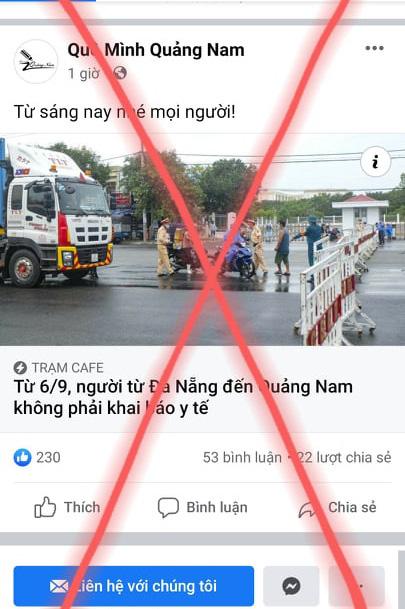 Quảng Nam duy trì chốt kiểm soát, người từ Đà Nẵng vào phải khai báo y tế - Ảnh 3.