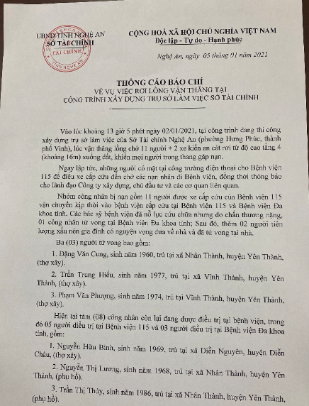 Sở Tài chính Nghệ An, thông tin chính thức vụ rơi lồng vận thăng khiến 11 người thương vong - Ảnh 1.