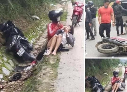Cướp giật khiến cô gái ngã xe máy bị thương còn đi lại ở hiện trường, tỏ vẻ vô can - Ảnh 1.