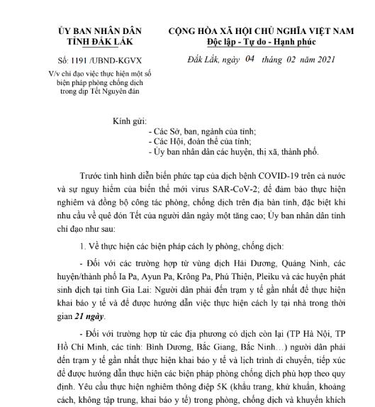 Sau lùm xùm văn bản cách ly, tỉnh Đắk Lắk ban hành văn bản chỉ đạo cụ thể - Ảnh 1.
