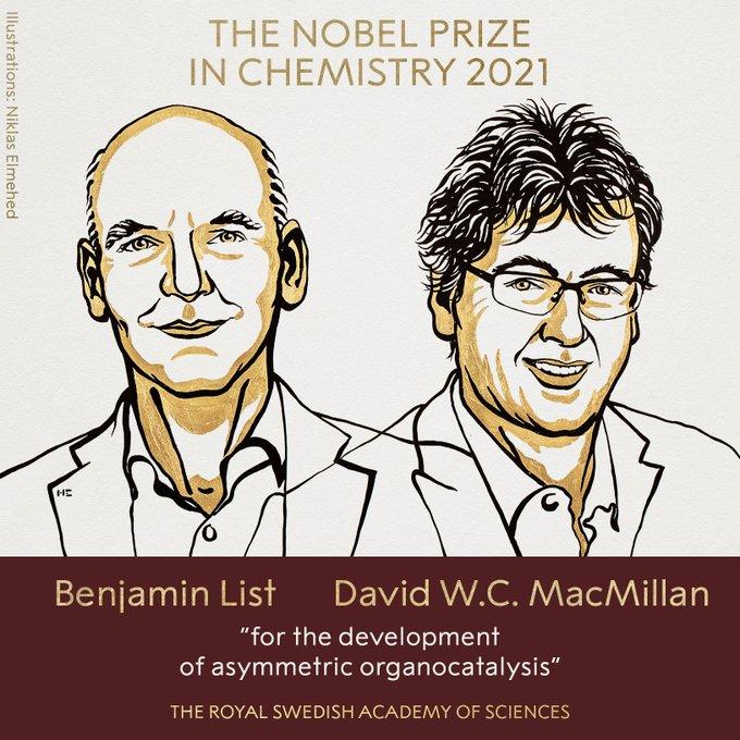 Giải Nobel Hóa học 2021 gọi tên 2 nhà khoa học Đức - Scotland - Ảnh 1.