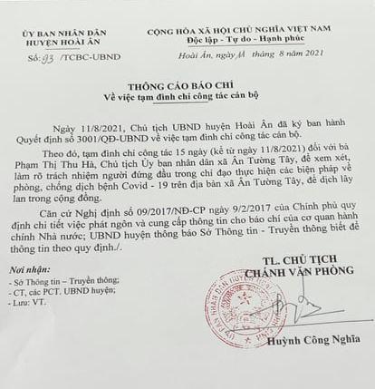 Bình Định tạm đình chỉ công tác một chủ tịch xã để dịch lây lan cộng đồng - Ảnh 1.