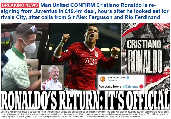 Ronaldo tái hợp Man United: Truyền thông thế giới việt vị, trang chủ Quỷ đỏ sập nguồn - Ảnh 2.