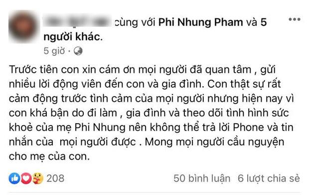 Sức khoẻ của ca sĩ Phi Nhung đã tốt hơn sau 3 ngày điều trị Covid-19 - Ảnh 3.