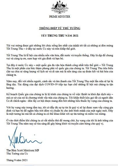 Thông điệp tiếng Việt của Thủ tướng Úc Scott Morrison về Tết Trung thu - Ảnh 1.