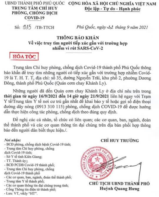 Phú Quốc khẩn cấp tìm người tiếp xúc gần ca mắc Covid-19 tại quán cơm chay - Ảnh 1.