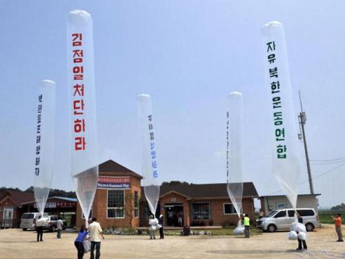 Các nhà hoạt động Hàn Quốc từng nhiều lần thả bóng bay mang truyền đơn vào Triều Tiên