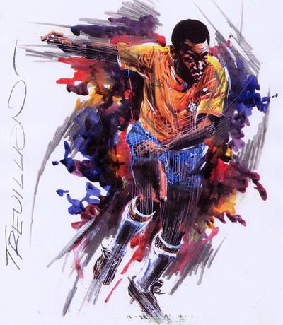 Vua bóng đá Pele dưới nét vẽ của một họa sĩ Pháp