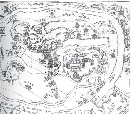 """Tấm bản đồ trong sách """"Hàm Long Sơn"""" đánh dấu số 3 mà ông Nguyễn Đắc Xuân khẳng định đó là vị trí chùa Thiền Lâm xưa kia và hiện nay"""