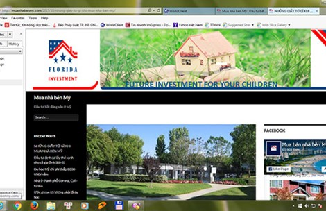 Một trang web quảng cáo mua nhà bên Mỹ. Ảnh: HTD
