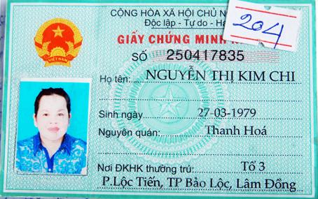Chứng minh nhân dân do Nguyễn Thị Loan làm giả để lẩn trốn.