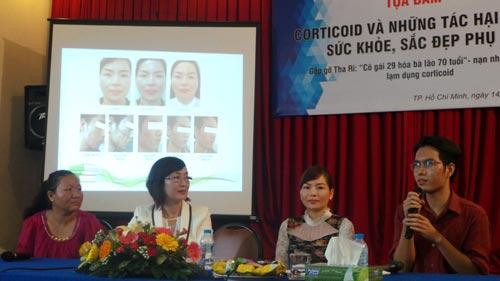Bệnh nhân Thạch Thị Tha Ri (trái) tại buổi tọa đàm tác hại sức khỏe do nhiễm corticoid