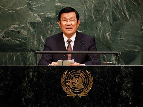 Chủ tịch Trương Tấn Sang phát biểu tại Hội nghị Thượng đỉnh LHQ ngày 25-9 Ảnh: REUTERS