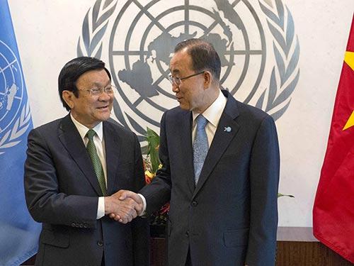 Chủ tịch nước Trương Tấn Sang hội kiến Tổng Thư ký Liên Hiệp Quốc Ban Ki-moon Ảnh: REUTERS