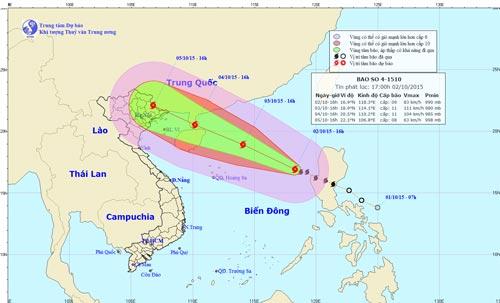 Dự báo hướng di chuyển của bão số 4