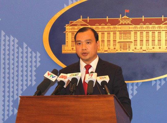 Người phát ngôn Bộ Ngoại giao Việt Nam Lê Hải Bình lên án hành vi sử dụng vũ lực với ngư dân Việt Nam Ảnh: DƯƠNG NGỌC