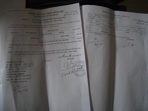 Những giấy tờ DNTN Ngã Ba Cây Dương chứng minh Công ty Nam Thái còn nợ hơn 4 tỉ đồng