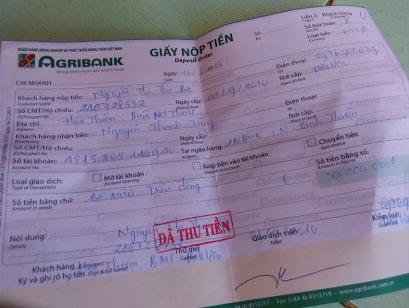 Một trong những hóa đơn chuyển tiền mà sư cô Nghĩa đã gửi cho Tùng