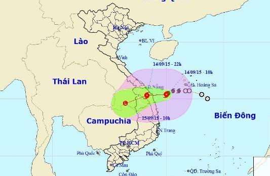 Vị trí và dự báo đường đi của cơn bão số 3 - Nguồn: Trung tâm Dự báo khí tượng Thủy văn Trung ương