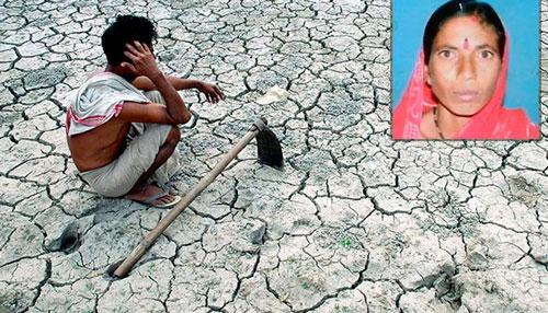 Bà Manisha Gatkal (ảnh nhỏ) đã tự tử vì không nuôi nổi 5 con nhỏ trong điều kiện thời tiết hạn hán  Ảnh: ZeeNews
