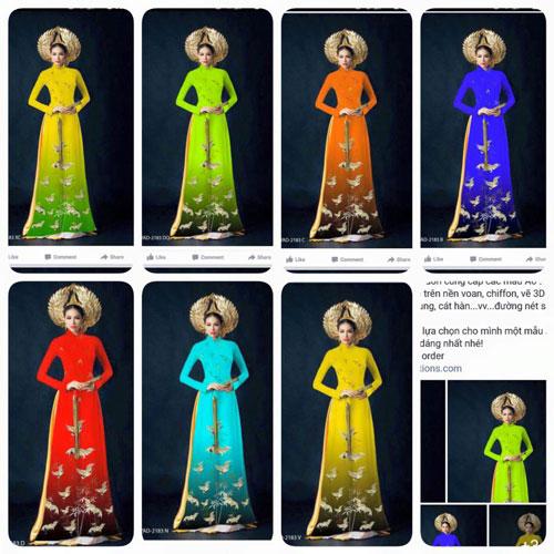 Mẫu áo dài Phạm Hương của Thuận Việt và mẫu áo dài Phạm Hương sao chép. (Ảnh do Thuận Việt cung cấp)