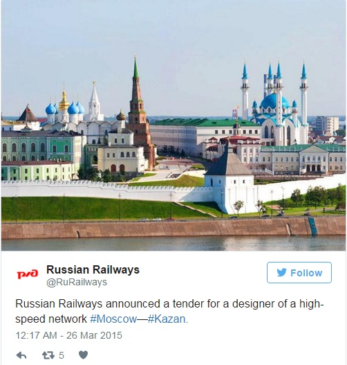Russian Railways thông báo về dự án trên trang Twitter của công ty. Ảnh: Twitter