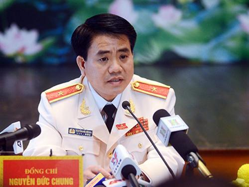 Ông Nguyễn Đức Chung tại cuộc họp báo kết thúc Đại hội Đảng bộ TP Hà Nội - Ảnh: ANTĐ