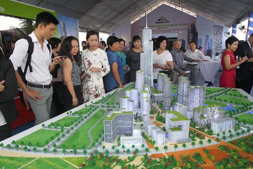 Mô hình dự án khu phức hợp Tháp quan sát Empire City - điểm nhấn của khu đô thị mới Thủ Thiêm Ảnh: Hoàng Triều