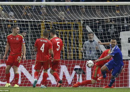 Xứ Wales thất vọng não nề nhìn Ibisevic ghi bàn thứ nhì...