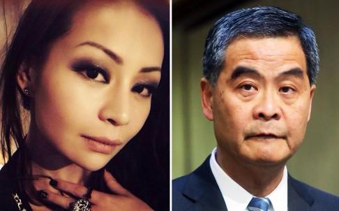 Lương Tề Hân và bố, Đặc khu trưởng Hồng Kông Lương Chấn Anh. Ảnh: SCMP