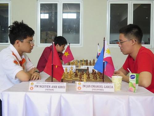 Anh Khôi (trái) vượt qua Jan Emanuel Garcia ở ván cuối, lên ngôi vô địch