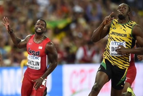 Usain Bolt về đích ở cự ly 100 m nam Giải VĐTG 2015
