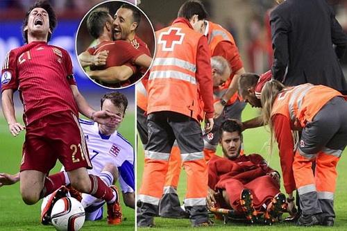 David Silva và Morata lần lượt rời sân do chấn thương nặng