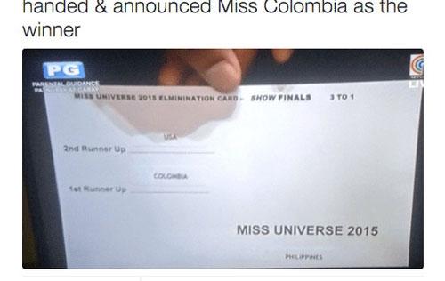 Tấm thiệp được cho là nguyên nhân dẫn đến sự cố công bố nhầm lẫn danh vị hoa hậu