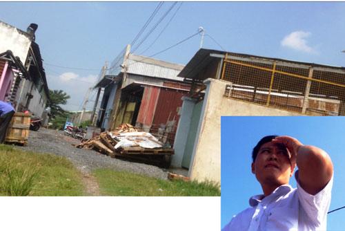 Dãy nhà mà cò Tưởng khoe xây dựng không phép tại ấp 2, xã Xuân Thới Thượng, huyện Hóc Môn, TP HCM và cò Tuấn (ảnh nhỏ) Ảnh: LÊ PHONG Ảnh: LÊ PHONG