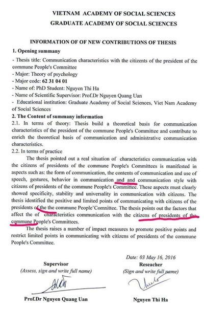 """Tóm tắt luận án """"Đặc điểm giao tiếp với dân của chủ tịch UBND xã"""" bằng tiếng Anh có rất nhiều lỗi khó chấp nhận"""