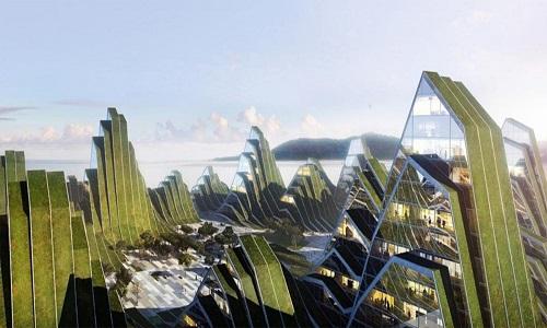 Khu nhà Hualien của công ty BIG tại Đài Loan là công trình kiến trúc có vẻ ngoài giống như dãy núi ở ven biển. Dự án này hướng đến tạo ra lối sống khỏe mạnh cho cư dân lớn tuổi với những con đường dành riêng cho người đi bộ và đường chạy bộ dưới lòng đất. Phần mái nhà được phủ cây xanh để làm giảm nhiệt độ. Hình dáng của ngôi nhà giống dãy núi giúp ngăn chặn ánh sáng Mặt Trời chiếu vào thời điểm nắng gay gắt nhất trong ngày, theo Inhabitat.