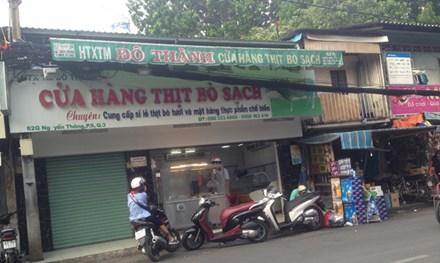 Nhiều cửa hàng gắn biển thịt bò sạch tại TP HCM.